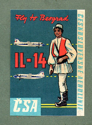 Airline luggage label Baggage Label CSA to Belgrade #593
