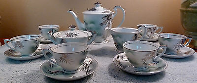 17-pc Kutani platinum leaves tea set - teapot, sugar, creamer,  6 cups & saucers