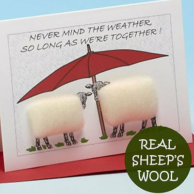 """Handmade card with real sheep wool - """"As long as we're together"""""""