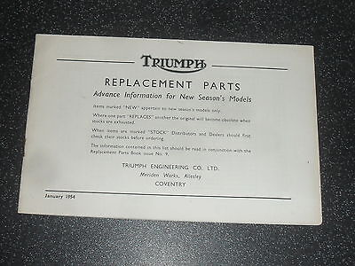 Old Triumph 1954 Replacement Parts List Advance Information New Seasons Models