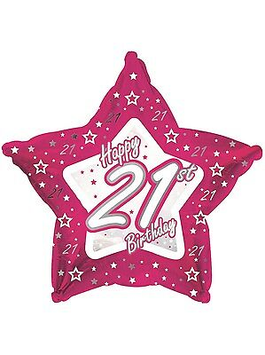 21st Birthday pink/ silver foil star balloon
