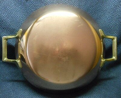 "Paul Revere 1801, 10.5"" Copper/Steel Rnd Fry Paella Au Gratin Pan, Brass Handles"