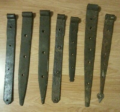 Lot of Antique Hand Forged Wrought Iron Barn Strap Hinges 7