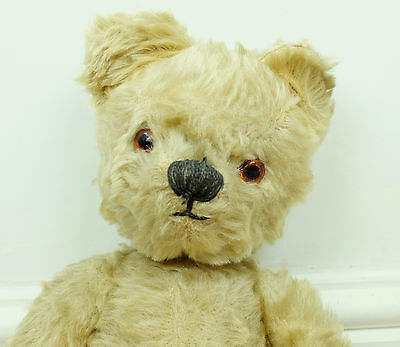"""Vintage 1950s Chad Valley English Beige Mohair Jointed Old Teddy Bear, 14"""" Tall"""