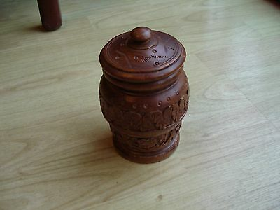 Carved  Hardwood  Storage Jar