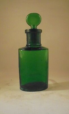 Attractive Vintage Victorian Small Green Perfume Bottle with Stopper