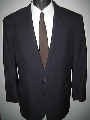 "42S -Men's navy blue pinstripe -2 button ""JoS A Bank"" 100% wool suit- 38W x 27L"