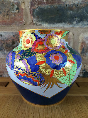 Magnificent & Extremely Rare 1930s Art Deco Carlton Ware Blue Floral Comets Vase