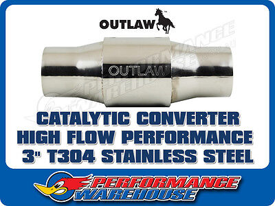 Outlaw Catalytic Converter High Flow Performance 3 Inch  Stainless Steel Race