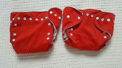 Used Red Wonderoos Pocket Washable Cloth Nappy With Liners One Size