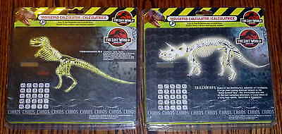 2X 1997 Jurassic Park The Lost World Mousepad Calculator -  T-Rex Triceratop New
