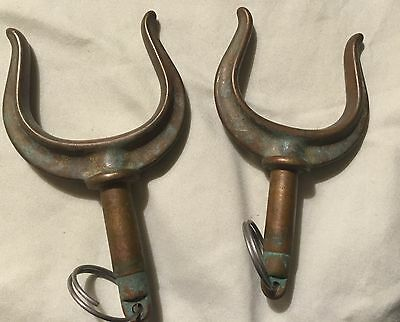 Set of 2 Antique Vintage Brass Rowboat Oarlocks