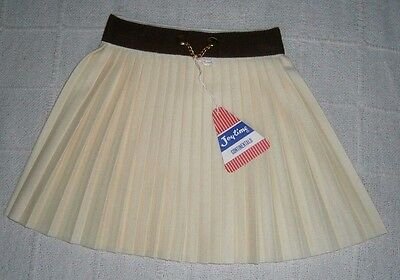 Vintage Pleated Skirt - Age 4-5 Years Approx - Cream/Brown - Chain Detail - New