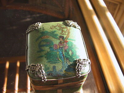 Vintage collectable Chinese bronze corner re-enforced hand painted porcelain box
