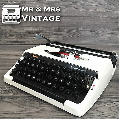 Immaculate Brother Deluxe 220 White Typewriter working black Red ribbon RARE