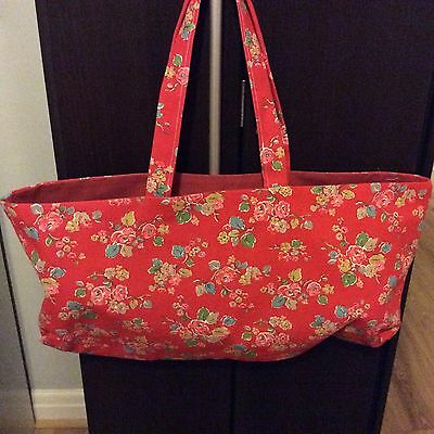 knitting bag,19 x 9 inch,cath kidston red Woodland Rose, plain beige lining.