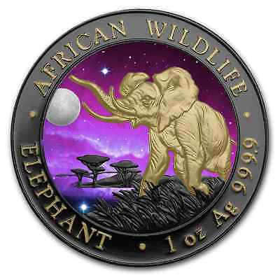 Silver Somalia Elephant Ruthenium Plated, Gold Gilded, Colorized Universe Coin