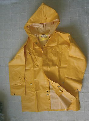 Vintage Vinyl All-Weather Jacket - Age 12 -152 cm Yellow Hooded -  New