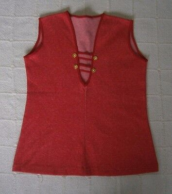 Vintage Stretch Tunic Top - Age 8 -128 cm - Red Marl - Cotton/Nylon - New