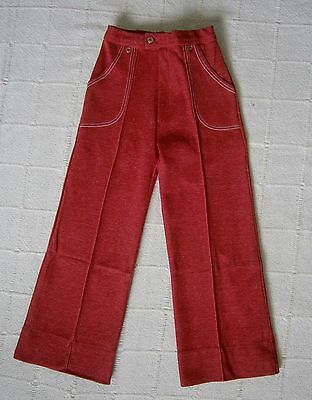 Vintage Stretch Trousers - Age 5-110 cm - Red Marl- White Stitching - Danish New