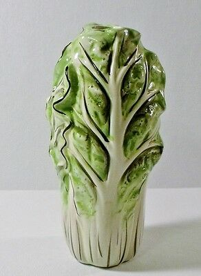 """ND Hand Painted VEGETABLE 8"""" CANDLE HOLDER Kale, Swiss Chard, Cabbage"""