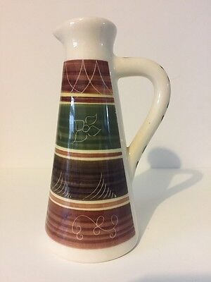 Dragon pottery Elan Valley Rhayader Wales etched oil/vinegar jug 15cm high x 7cm