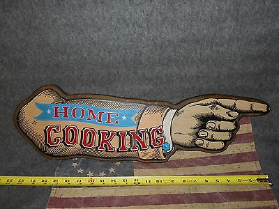 """VINTAGE 'STYLE' WOOD """"HOME COOKING"""" POINTING HAND restaurant,cafe,kitchen SIGN"""