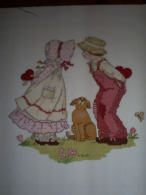 Cute Victorian Girl & Boy with Dog Cross stitch Completed Picture 27 x 34 cm