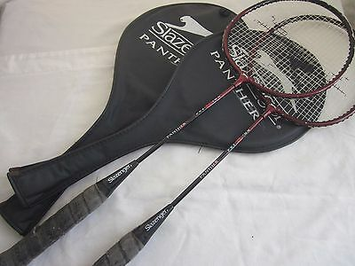 2 Used Adult Badminton Rackets. Slazenger Panther Precision + cases!