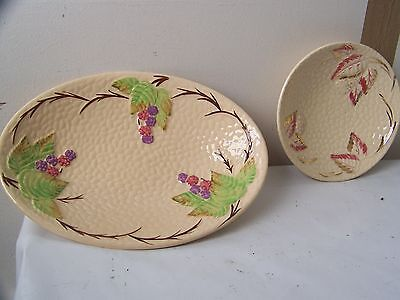 2 vintage dishes by wade in the bramble pattern