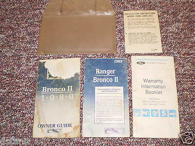 1989 Ford Bronco Ii 2 Complete Suv Owners Manual Books Guide Case All Models