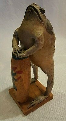 Real Vintage Taxidermy Frog Playing A Bongo Drum - Amazing Condition