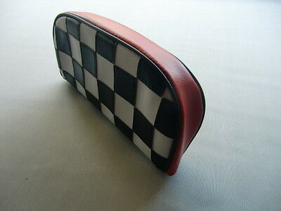 Black/White with Red Boarder Check Scooter Back Rest Cover (Purse Style)