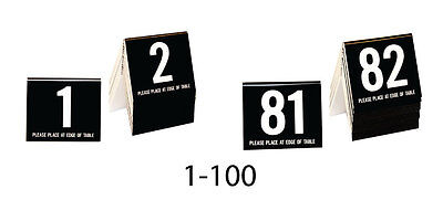Plastic Table Numbers 1-100 Tent Style, Black w/white number, Free shipping