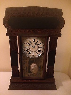 Antique Sessions Gingerbread Shelf Mantle Chime Bong Clock w/ Mirror Pendulum