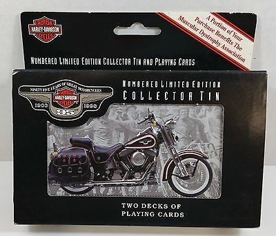 NEW Harley Davidson 95th Anniversary Playing Cards Decks w Collectible Tin 1998