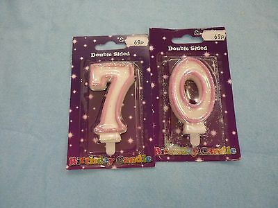 '70' birthday candles pink