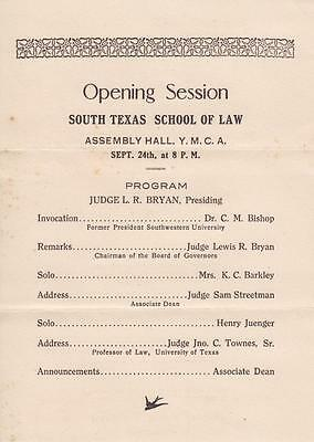South Texas College of Law 1923 OPENING RECEPTION Handbill Houston
