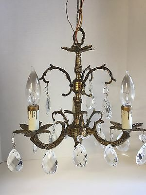 Vintage Antique Petite Spanish Brass Chandelier Ornate with 15  Crystal Drops