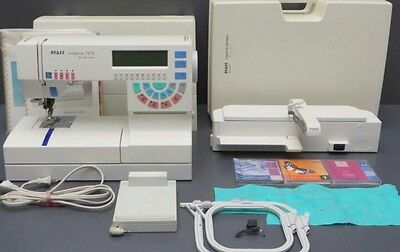 Lovely Pfaff 7570 sewing and embroidery machine with hoops and computer connect
