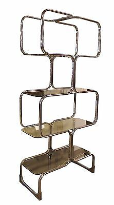 Mid Century Modern Chrome Glass Italian Etagere Shelving Unit By Tricom