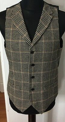Mens Tweed Waistcoat Feraud 42 Large Vintage Steampunk Victorian Collared