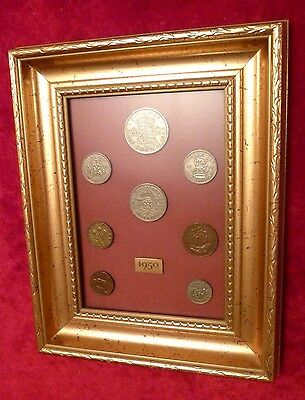 Gilt Frame 1950 Coin Mount Set Birthday Anniversary Gift Rare Silver Threepence