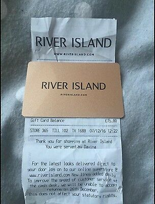 River island Topshop Gold £75 Value Gift Card, With Receipt To Prove Value