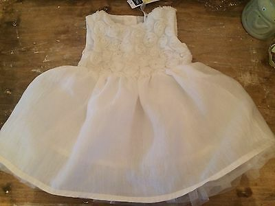 Beautiful Baby Girl Cream Flower Party / Christening Dress 0-3 Months Bnwt ❤