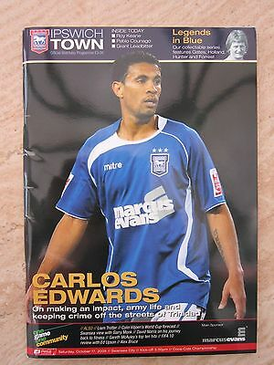 Ipswich Town v Swansea city programme 17th October 2009 & Postcards