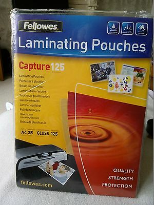 NEW FELLOWES 25 x A4 GLOSS LAMINATOR LAMINATING POUCHES 125 MICRON 216MM x 303MM