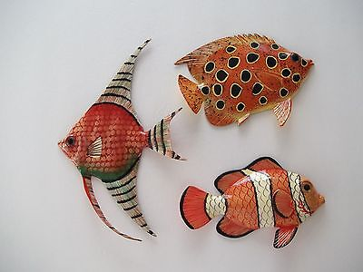 Set 3 Tropical Fish Wall PlaqueTiki Bar Beach Pool Nautical Decor TFW3N