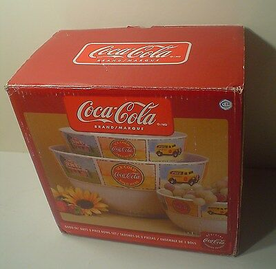 Gibson Coca-Cola ~ 3 Piece Bowl Set ~ Good Ol' Days ~ Large Bowls