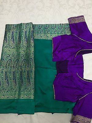 Purple And Green Heavy Silk Wedding Saree. Ready Stitched Blouse (size 14-16)